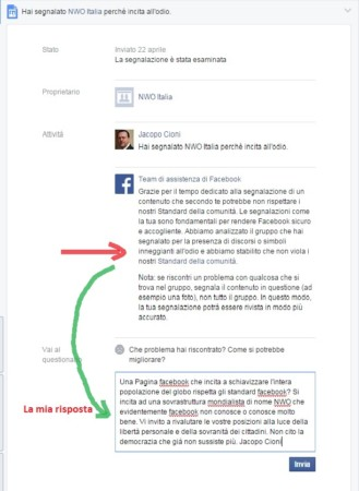 risposta facebook