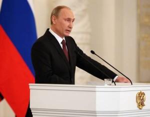 President Vladimir Putin speaks about Crimea