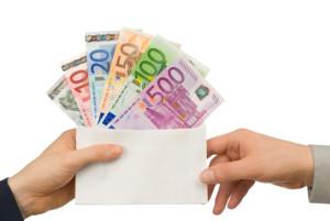 Taking money in an envelope