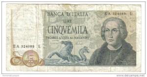5000 lire banca d'italia pagabili a vista